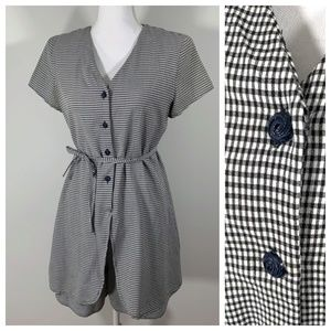 Vintage 90s Romper checkered button down